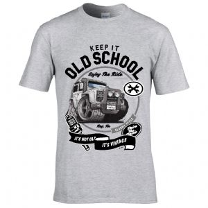 Premium Koolart KEEP IT OLD SCHOOL & Retro Defender Twisted classic car image mens t-shirt gift